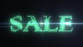 Testo al neon verde di VENDITA del laser con l'animazione ottica leggera brillante dei chiarori su fondo nero - retro annata di n illustrazione vettoriale