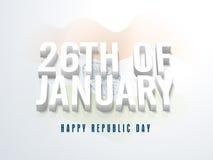 Testo alla moda il ventiseiesimo gennaio per il giorno della Repubblica Immagini Stock Libere da Diritti