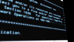 Testo alle condizioni terminali di uno schermo di computer di servizio stock footage