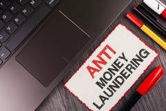 Testo anti Monay Laundring della scrittura Progetti entranti di significato di concetto per andare via soldi sporchi e per pulirl Immagini Stock Libere da Diritti