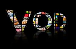 Testo astratto del video on demand, concetto della TV Fotografia Stock