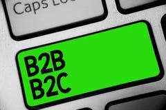 Testo B2B B2C della scrittura Concetto che significa due tipi per l'invio dei email all'altra chiave Intenti di verde della tasti Fotografia Stock