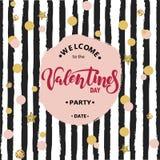 Testo benvenuto del partito del ` s del biglietto di S. Valentino Immagini Stock