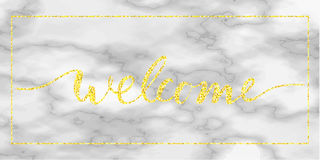 Testo benvenuto dell'oro su marmo Fotografia Stock Libera da Diritti