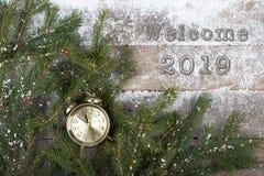 testo ' Benvenuto 2019' ramo di albero dell'abete e della sveglia su un fondo di legno innevato fotografia stock libera da diritti