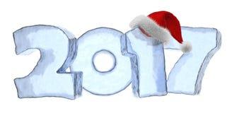 Testo blu del ghiaccio da 2017 buoni anni con il cappello rosso lanuginoso illustrazione vettoriale