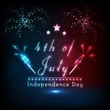 Testo brillante con il fuoco d'artificio per la festa dell'indipendenza americana illustrazione di stock