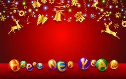 Testo celebrazione di festival di Natale e del nuovo anno illustrazione di stock