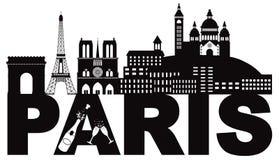Testo Champagne Black dell'orizzonte di Parigi ed illustrazione bianca di vettore Fotografie Stock Libere da Diritti