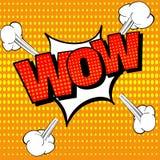 Testo comico di wow, stile di Pop art Fumetto comico Wow emozione sorpresa o colpita con gli effetti sonori di scoppio Vettore illustrazione di stock