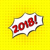 2018 - Testo comico, stile di Pop art L'iscrizione disegnata a mano libera di tipografia con il giallo ha punteggiato il fondo di Fotografie Stock