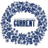 Testo CORRENTE di Snowy nel telaio del fiocco di neve Immagine Stock