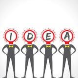 Testo creativo di idea con l'uomo del fronte della lampadina Immagini Stock Libere da Diritti