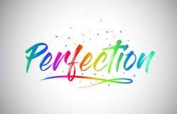 Testo creativo di parola di Vetor di perfezione con i colori vibranti ed i coriandoli dell'arcobaleno scritto a mano royalty illustrazione gratis