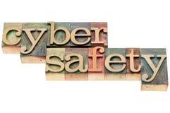 Testo cyber di sicurezza nel tipo di legno Fotografia Stock