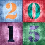 2015, testo d'annata sul fondo strutturato di lerciume Immagini Stock Libere da Diritti