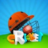 testo 3D con il casco e la palla da cricket Immagine Stock
