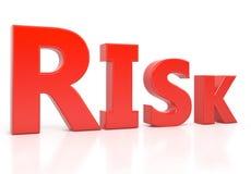 Testo 3d di rischio isolato sopra fondo bianco Immagine Stock
