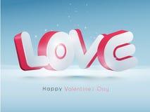 testo 3D per la celebrazione felice di giorno di biglietti di S. Valentino Immagine Stock