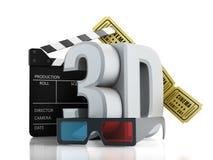 testo 3D, vetri, assicella e biglietti del cinema Immagine Stock