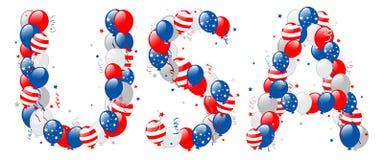 Testo decorativo di U.S.A. dei palloni Fotografia Stock