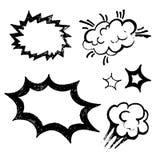 Testo dei fumetti del gesso, palloni Immagini Stock