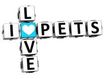 testo del blocchetto delle parole incrociate degli animali domestici di amore di 3D I Fotografie Stock
