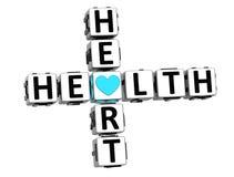 testo del bottone del blocchetto delle parole incrociate del cuore di salute 3D Immagine Stock Libera da Diritti
