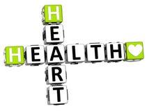 testo del bottone del blocchetto delle parole incrociate del cuore di salute 3D Fotografie Stock Libere da Diritti