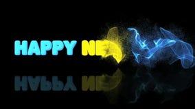 Testo del buon anno con i fuochi d'artificio nella particella archivi video
