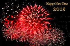 Testo del buon anno 2018 di colore e dei fuochi d'artificio dell'oro Fotografie Stock Libere da Diritti