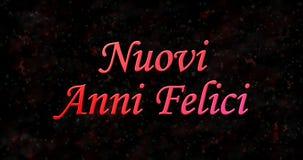 Testo del buon anno in italiano felici di anni di Nuovi sulla parte posteriore del nero Fotografia Stock