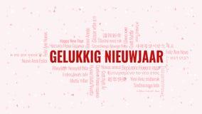 """Testo del buon anno in olandese il Gelukkig Nieuwjaar delle olandesi"""" con la nuvola di parola su un fondo bianco illustrazione di stock"""