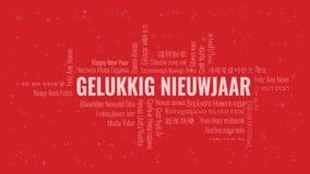 """Testo del buon anno in olandese il Gelukkig Nieuwjaar delle olandesi"""" con la nuvola di parola su un fondo rosso illustrazione vettoriale"""