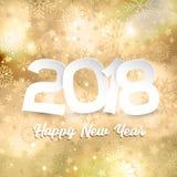 Testo del buon anno sul fondo del fiocco di neve dell'oro Immagini Stock Libere da Diritti