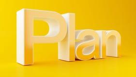 testo del business plan 3d su fondo giallo Immagine Stock Libera da Diritti