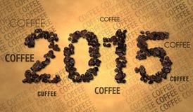 Testo 2015 del chicco di caffè su vecchia carta Immagine Stock