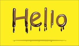 Testo del cioccolato ciao Immagine Stock