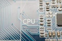 Testo del CPU sulla scheda madre fotografia stock