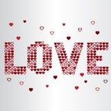 Testo del cuore del biglietto di S. Valentino di amore Fotografia Stock Libera da Diritti