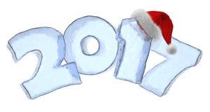 Testo del ghiaccio da 2017 buoni anni con il cappello rosso lanuginoso royalty illustrazione gratis
