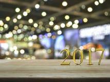 Testo 2017 del metallo dell'oro del buon anno Fotografie Stock