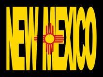Testo del New Mexico con la bandierina Fotografia Stock