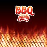 Testo del partito del BBQ, griglia e fiamme brucianti del fuoco Immagine Stock