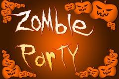 Testo del partito dello zombie di Halloween su fondo Fotografie Stock Libere da Diritti