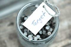 Testo &#x27 del segno; target' e banca con i chiodi Idea di concetto di raggiungimento degli scopi nella vita fotografie stock libere da diritti