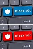 Testo dell'annuncio del blocco sul bottone della tastiera Fotografia Stock Libera da Diritti