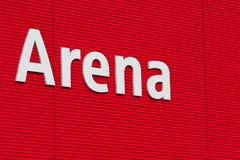 Testo dell'arena sulla parete. Fotografia Stock