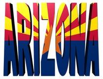 Testo dell'Arizona con la bandierina su bianco Immagine Stock