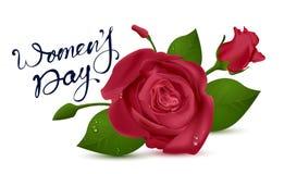 Testo dell'iscrizione del giorno delle donne per la cartolina d'auguri Il colore rosso è aumentato su priorità bassa bianca Immagini Stock